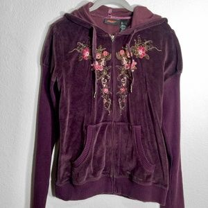 dkny active mauve purple velvet embroidered hoodie